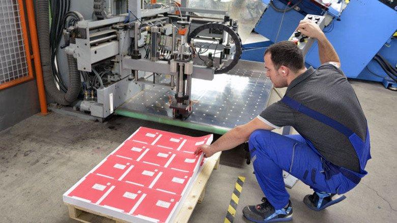 Produktion: Valon Bekaj legt Druckbogen an den Einzug der Stanzmaschine. Foto: Scheffler