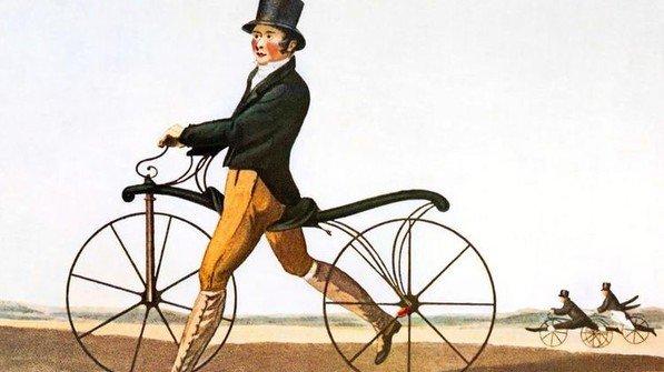 Der Urahn des Fahrrads: 1817 konstruierte Karl Freiherr von Drais ein hölzernes Laufrad. Foto: akg-images / Science Photo Library