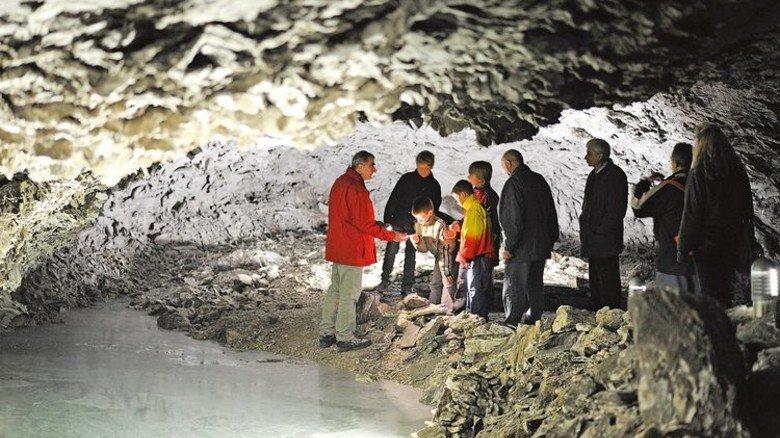 Barbarossahöhle: Hier liegt die Luftfeuchtigkeit bei 96 Prozent. Foto: Veranstalter