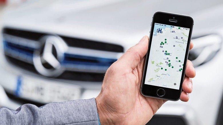 Noch große Lücken: Eine App zeigt die Wasserstoff-Tankstellen.