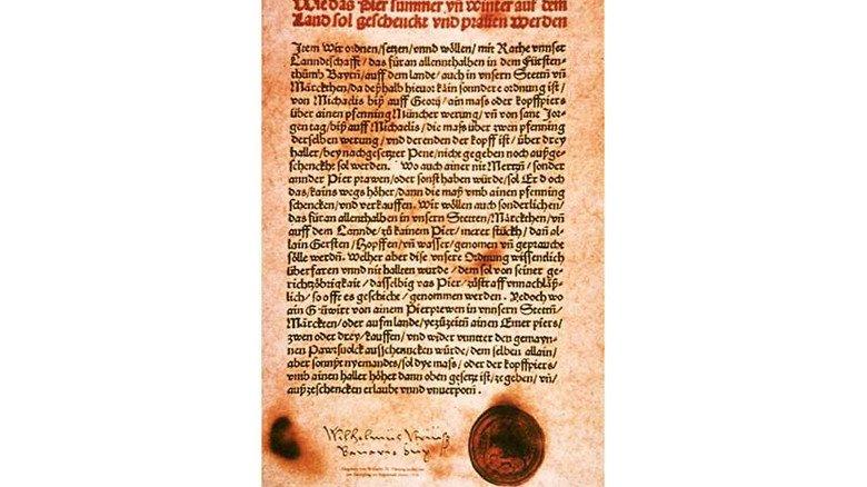 Original: Urkunde des Reinheitsgebots von 1516. Foto: Braukulturland Franken