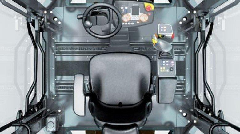 Viel Technik: Ein Blick in die Fahrerkabine einer Walze von Hamm. Foto: Werk