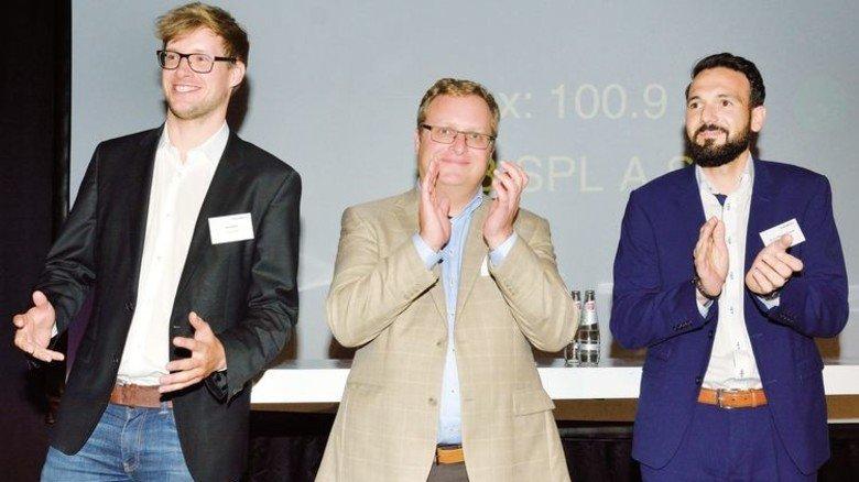 Verblüfften beim Hessenforum mit pfiffigen Konzepten: Drei Start-up-Gründer der Technischen Uni Darmstadt. Foto: Scheffler
