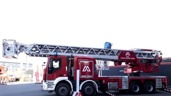 Erfindung aus Ulm: Die frei stehende, fahrbare Drehleiter. Foto: Magirus