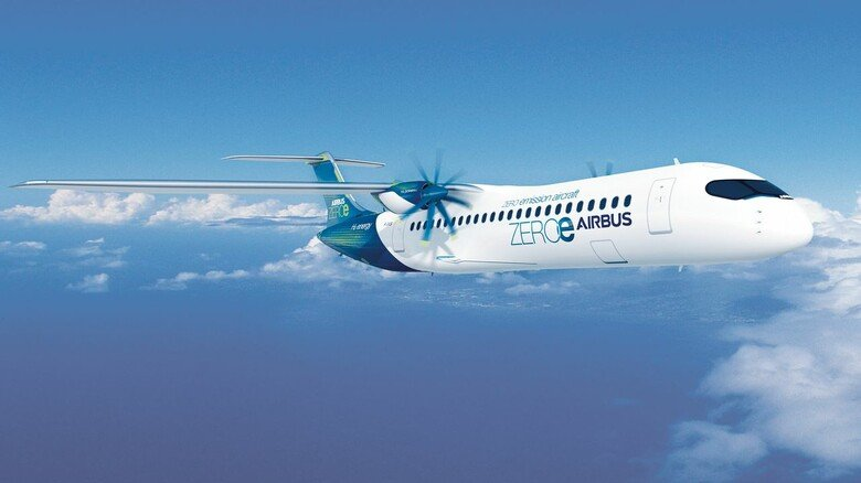 Zukunftsvision: Dieses Modell von Airbus soll mit modifizierten Turboprop-Triebwerken und Wasserstoff fliegen.