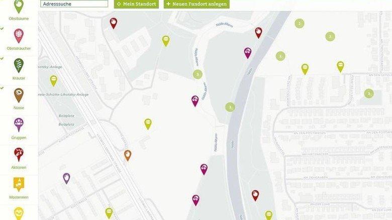 """Pflücken erlaubt: So zeigt die Site """"Mundraub"""" Standorte an – hier am Stadtrand von Frankfurt. Foto: Screenshot"""