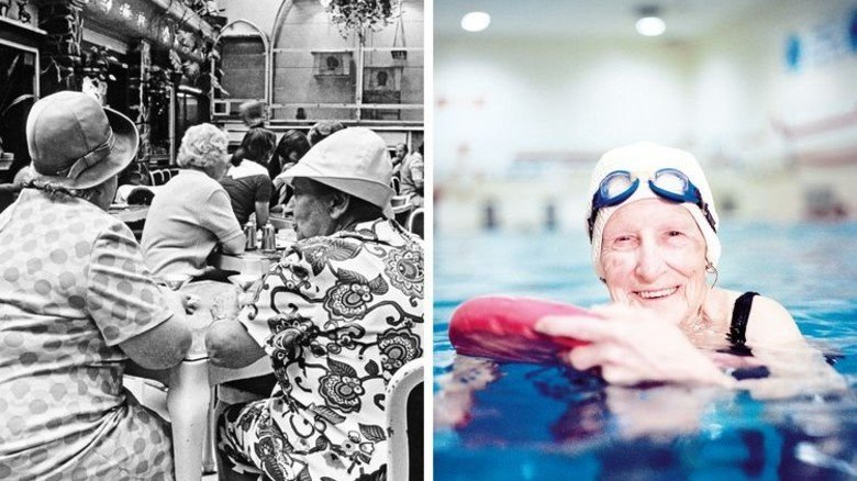Badekappe statt Hut: Sport gehört heute bei vielen Rentnern zum Alltag. Fotos: Plainpicture, akg-images