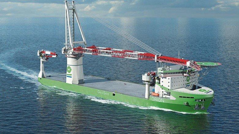"""Spezialschiff: Die """"Orion"""" soll mit drei Kranen von Liebherr bestückt und beim Bau und Rückbau von Windparks eingesetzt werden."""