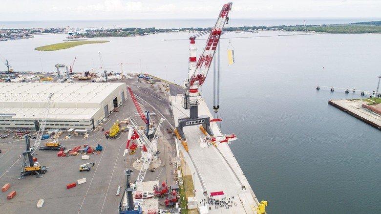 Gigant aus Stahl: Der neue Kran hat eine maximale Höhe von rund 165 Metern.