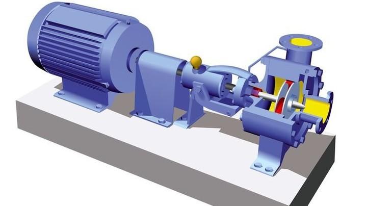 Prinzip: Ein Motor (links) dreht die Welle, an der vorn das Laufrad sitzt. Illustration: Magasjukur2
