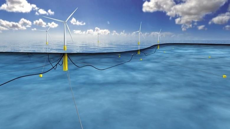 Neue Perspektiven: Schwimmende Turbinen sind nicht auf flache Küstengewässer angewiesen. Sie können auch auf hoher See Strom produzieren, wo der Wind meist stärker weht. Illustration: Statoil