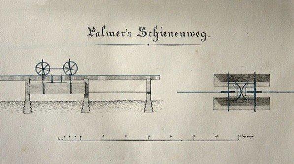 Konstruktionszeichnung für die weltweit erste Einschienenbahn: Sie kam in Großbritannien zum Einsatz und transportierte Ziegel.