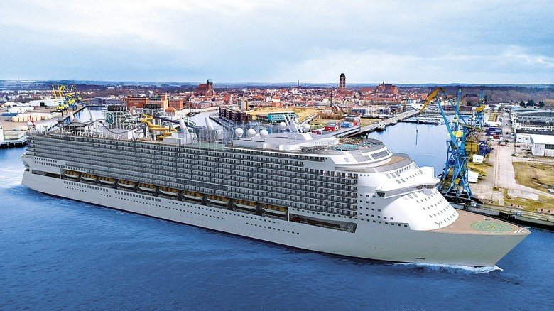 """Kreuzfahrt-Riese: So wird die rund 340 Meter lange """"Global Dream"""" aussehen, die aktuell bei MV Werften entsteht."""