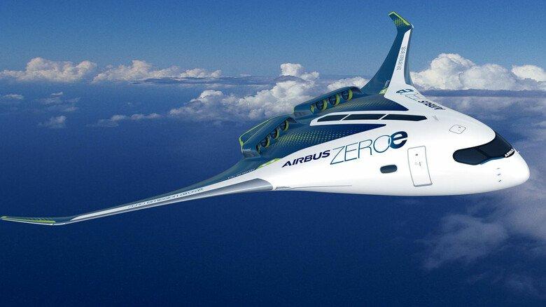 """Der Nurflügler: Das """"Blended-wing body""""-Modell bietet mit seinem breiten Rumpf eine Menge Spielraum für die Speicherung des Wasserstoffs. Die Kapazität liegt bei 200Passagieren."""