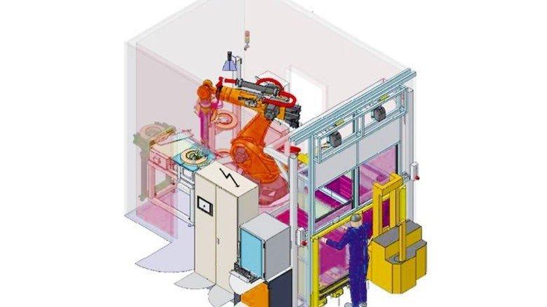 Enge Box: Nur 3,5 mal 4,5 Meter groß ist die Anlage, in der der Roboter arbeitet. Illustration: Schindler