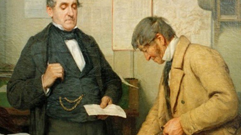 """Da waren Zinsen noch greifbar: Albert Ankers Ölgemälde """"Der Zinstag"""" ist rund 140 Jahre alt. Foto: akg-images"""