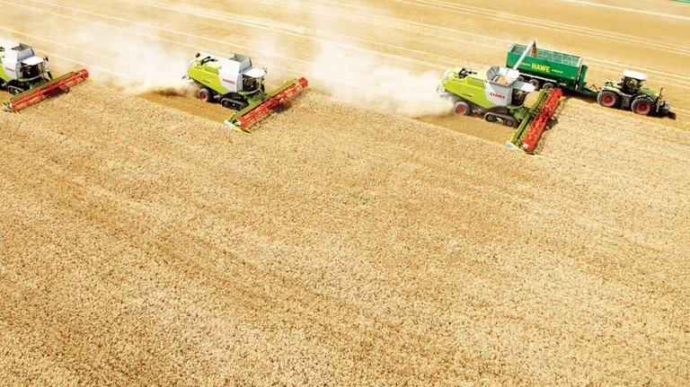 In Reih und Glied: Und im Traktor sitzt der Landwirt, der alles im Blick hat.