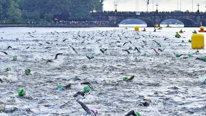 Insgesamt beteiligten sich rund 2.500 Athleten an dem Wettkampf, der mit der Schwimmstrecke durch die Alster begann. Foto: Christian Augustin