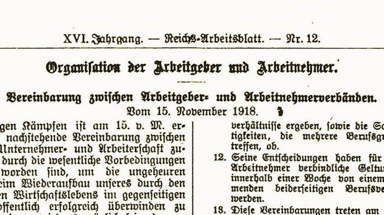 Viel Kleingedrucktes: Die Vereinbarung, die am 15. November 1918 unterzeichnet wurde.