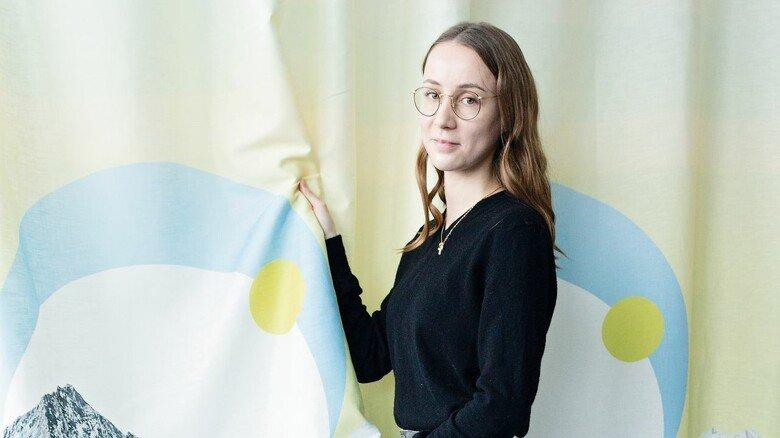 Ein Hingucker: Johanna Volkery und ihr Design für einen nachhaltigen Vorhang.