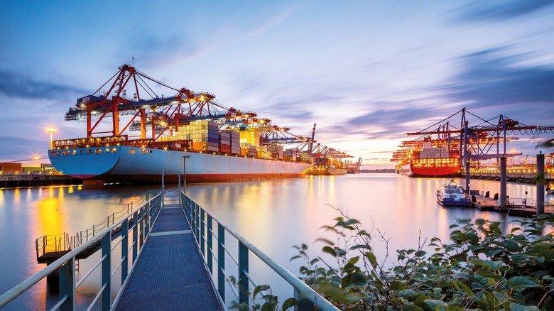 Frachtumschlag: Blick auf ein Container-Terminal mit riesigen Krananlagen im Hamburger Hafen.