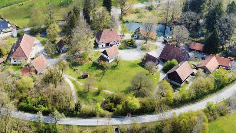Architektur des Miteinanders: Das Museum Wolfegg in einer Ansicht von oben. Foto: Bauernhaus-Museum Wolfegg