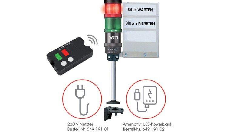 Praktisch etwa für Geschäfte und Arzpraxen: Eine Ampel für die Zutrittskontrolle, von der Firma Werma aus Rietheim-Weilheim.