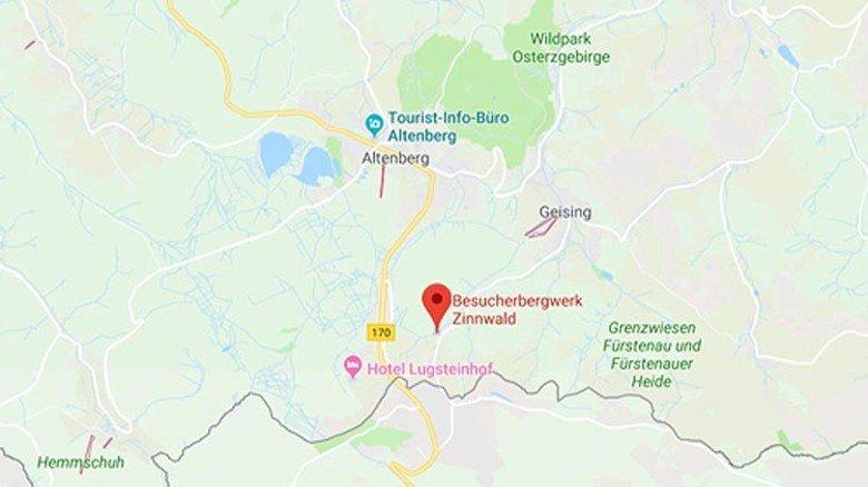 """Das Besucherbergwerk """"Vereinigt Zwitterfeld zu Zinnwald"""" liegt im Ortsteil Zinnwald-Georgenfeld von Altenberg. Weitere Infos zur Besichtigung unter: besucherbergwerk-zinnwald.de (https://www.besucherbergwerk-zinnwald.de/). Screenshot: Google Maps"""