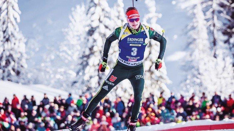 In Form: Biathlet Benedikt Doll beim Lauf in Hochfilzen. Foto: dpa