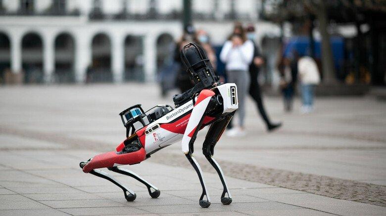 """Heuschrecke mal anders: Wachschutz-Roboter """"Spot"""" im Einsatz in der Hamburger Innenstadt."""