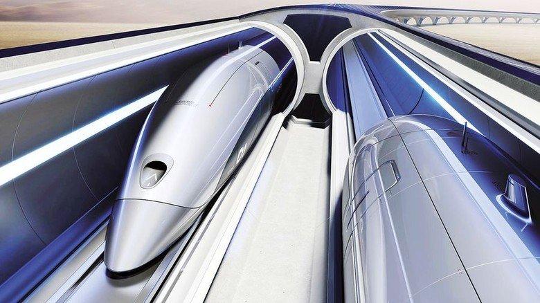 Visionäre Idee: Die Bahn soll durch luftleere Röhren rasen. Foto: Hyperloop Transportation Technologies (HTT).