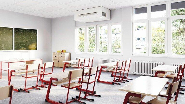 Luftaustausch ohne Kälte und Lärm: So eine Anlage lässt sich in Klassenzimmern mit Außenwand einfach nachrüsten.