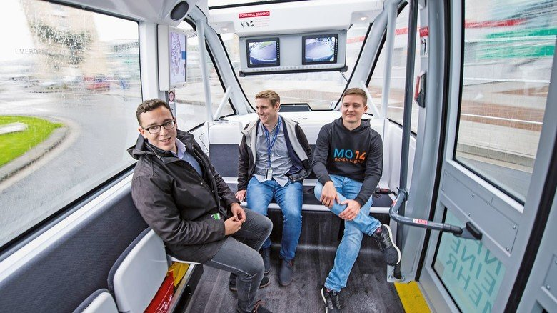 Elektrisch und autonom: Die Busse bieten Platz für bis zu zwölf Personen.