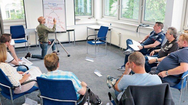 Präsenz-Seminar vor Corona: Interesse, Mimik und Gestik der Teilnehmer bekommt hier – anders als beim Online-Seminar – jeder mit.
