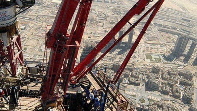 Der Turm während der Bauzeit. Foto: Werk