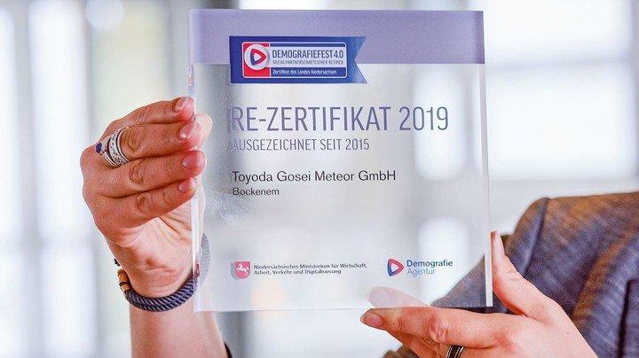 """Schon zum dritten Mal ausgezeichnet: Toyoda Gosei Meteor in Bockenem tut eine Menge, um den Standort """"demografiefest"""" zu machen."""
