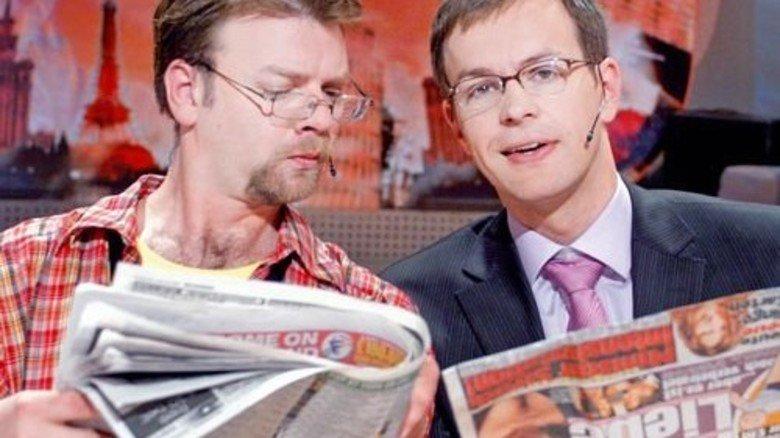 "TV-Star: Steffen Möller (rechts) in der populären polnischen Comedy-Show ""Europa lässt sich mögen"". Foto: PAP"