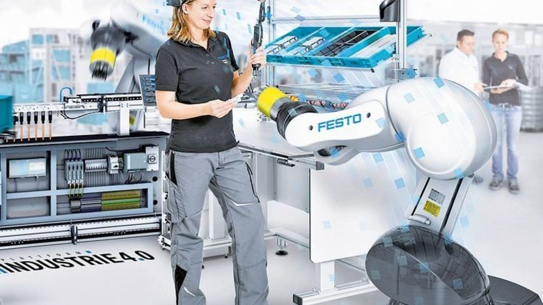 Hightech: Flexible Produktion in der Technologiefabrik von Festo in Esslingen. Foto: Werk
