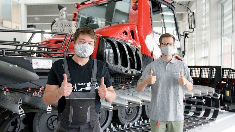 Besondere Bedingungen: Bei der Kässbohrer Geländefahrzeug AG in Laupheim wird teilweise mit Mund-Nasen-Bedeckung gearbeitet.