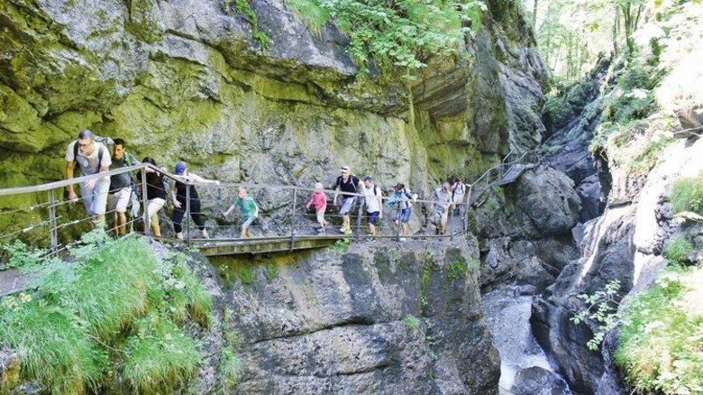 Grüne Felswände: Über Holzstege in der Starzlachklamm in Sonthofen. Foto: Stadt Sonthofen