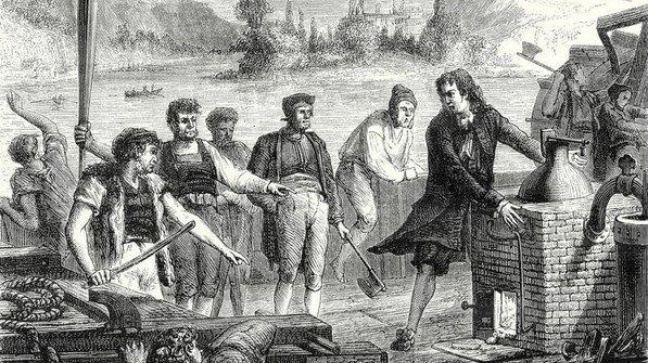 Testfahrt: Das erste dampfbetriebe Schiff der Welt fuhr in Deutschland, auf der Weser. Foto: akg-images / Liszt Collection