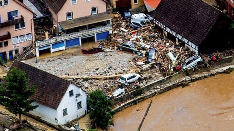 Zerstörung: Wassermassen in Braunsbach bei Schwäbisch Hall. Foto: dpa