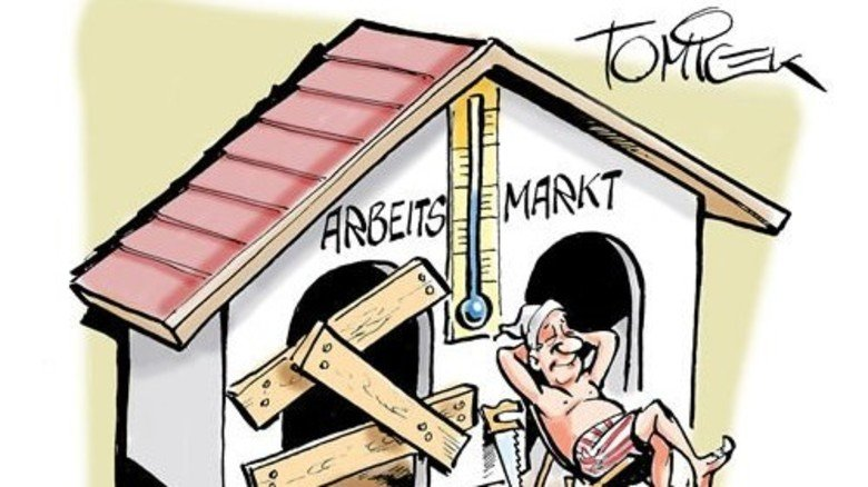 Wetterhäuschen: Von stürmischen Zeiten will man auf der Sonnenseite nichts mehr wissen. Karikatur: Tomicek