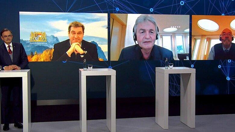 In der Talkrunde zwischen dem Ratsvorsitzenden Professor Wolfgang A. Herrmann, Bayerns Ministerpräsident Markus Söder sowie vbw-Hauptgeschäftsführer Bertram Brossardt und vbw-Präsident Wolfram Hatz (von links) ging es um Digitalisierung und Klimaschutz.