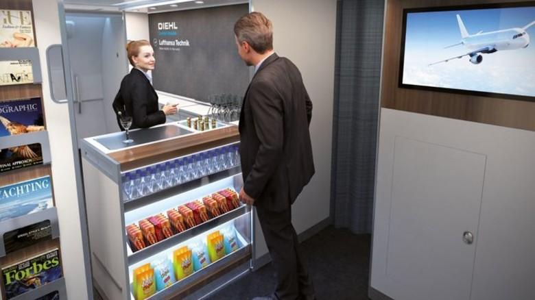 Gegen Hunger und Durst: Der Entwurf von Diehl Comfort Modules eröffnet neue Möglichkeiten für den Bordverkauf. Foto: Werk