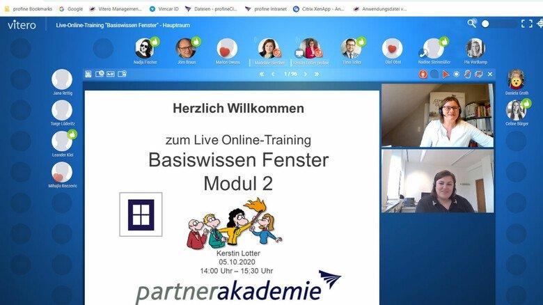 """Im Einsatz: Lotter hält ein Modul ihres Seminars """"Basiswissen Fenster"""" auf der Online-Lernplattform Vitero ab."""