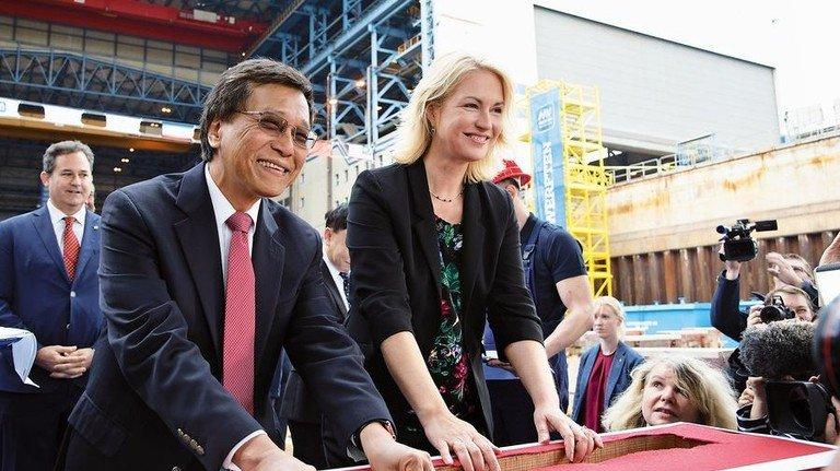 Feier: Ministerpräsidentin Manuela Schwesig bei der Kiellegung von MV Werften. Foto: MV Werften