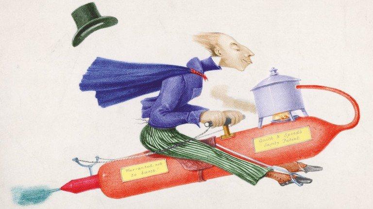 Ohne Zukunft: Die Vision eines fliegenden dampfbetriebenen Pferdes wurde im 19. Jahrhundert entwickelt – aber konnte sich in der realen Welt nie durchsetzen.