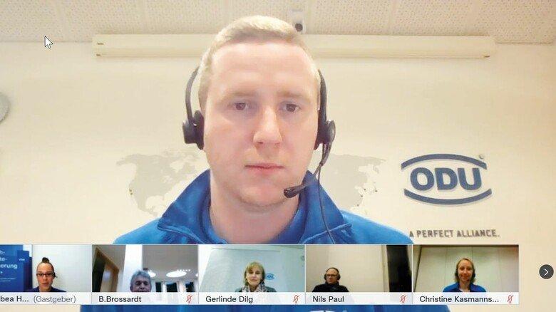 Logistikfachmann: Daniel Gass berichtet beim virtuellen Projektbesuch der Taskforce FKS+ von seiner Qualifizierung beim Steckverbinderhersteller ODU.