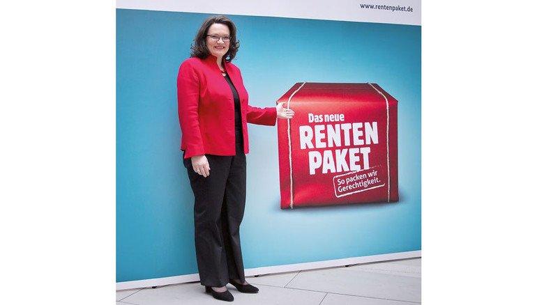 Unbeirrt: Arbeitsministerin Andrea Nahles wirbt für die Rentenpläne. Foto: dpa
